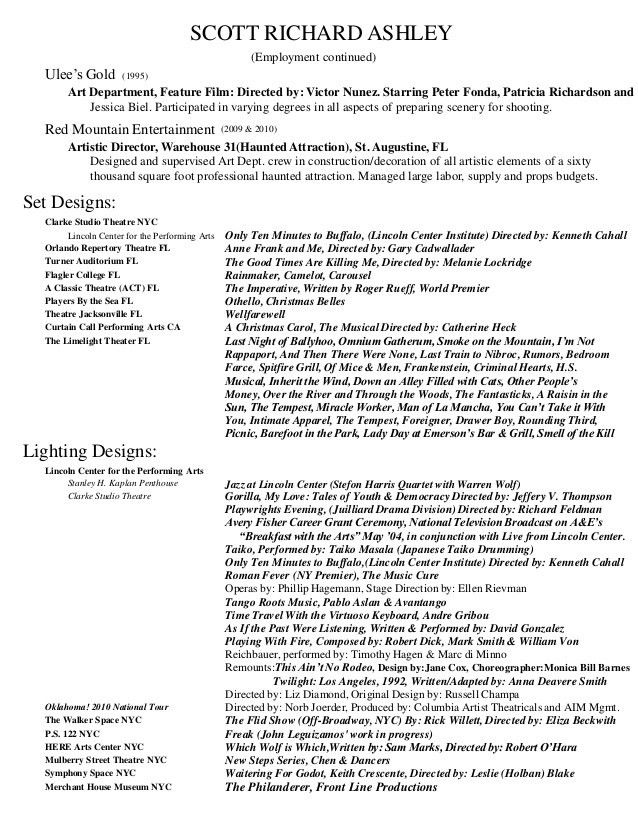 Scott Ashley Theatre Design and Production Resume