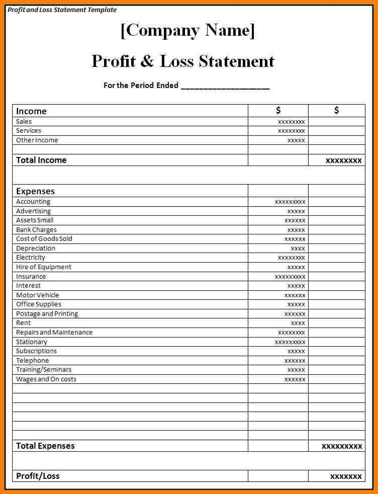 8+ blank profit and loss statement | meal plan spreadsheet