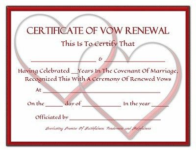 Everlasting Promises Vow Renewal Certificate - Free Printable ...