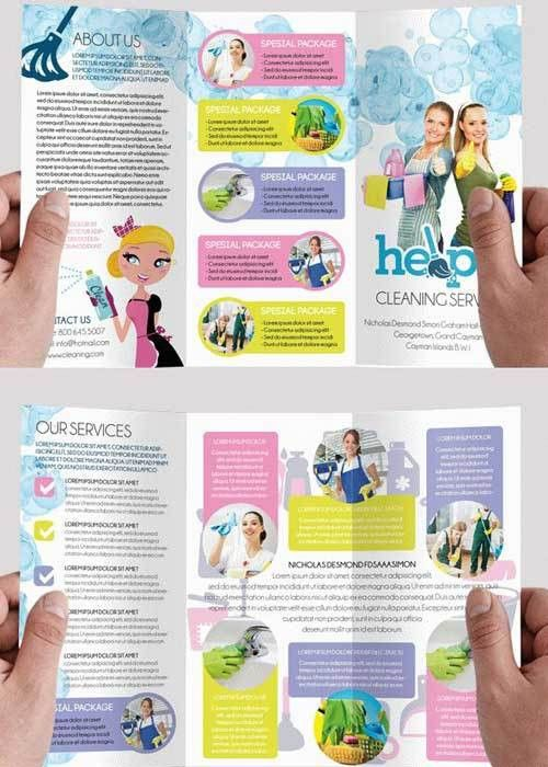 Cleaning services V1 Premium Tri-Fold PSD Brochure Template ...
