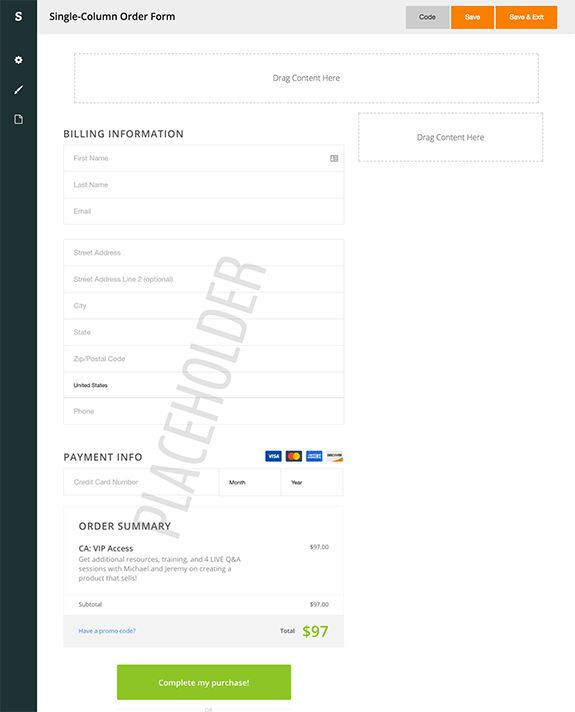 Features | Spiffy | Beautiful, Infusionsoft Mobile-Optimized Order ...
