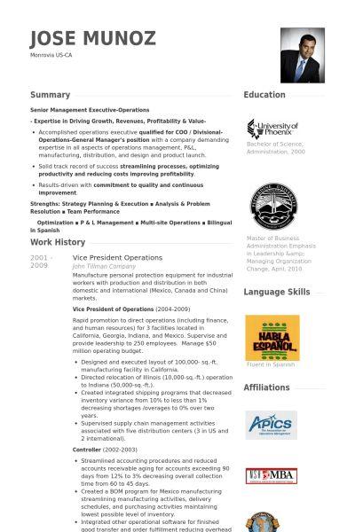 Vice President Operations Resume samples - VisualCV resume samples ...