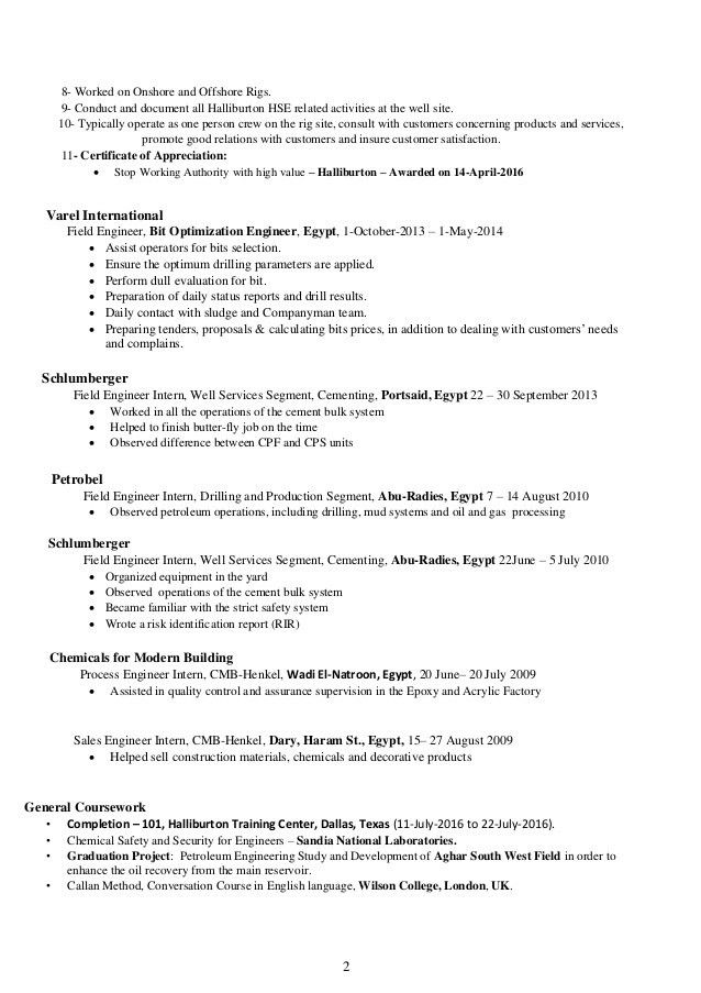 Halliburton Field Engineer Sample Resume - uxhandy.com