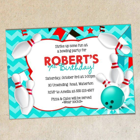 Bowling Party Invitation TEMPLATE Chevron Background Bowling