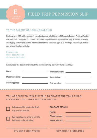 Teal Peach Cute Preschool Field Trip Permission Slip Letters ...