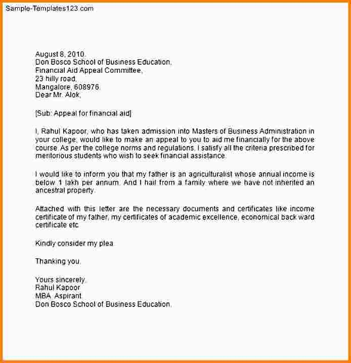 appeal letter for financial aid sample financial aid appeal