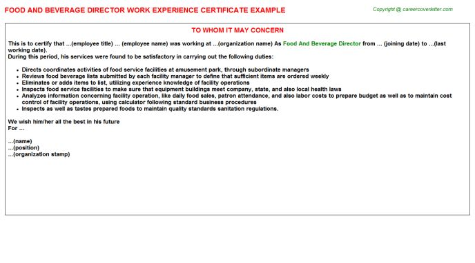 Food And Beverage Director Work Experience Certificate