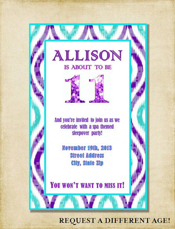 Girl 11th Birthday Party Invitation Purple & Aqua by ...