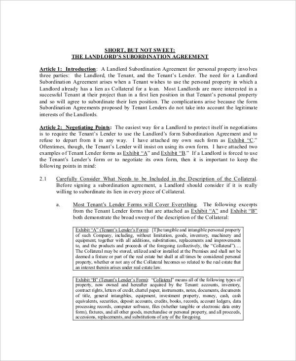 High Quality Sample Subordination Agreement Template. Perpetual Loan .