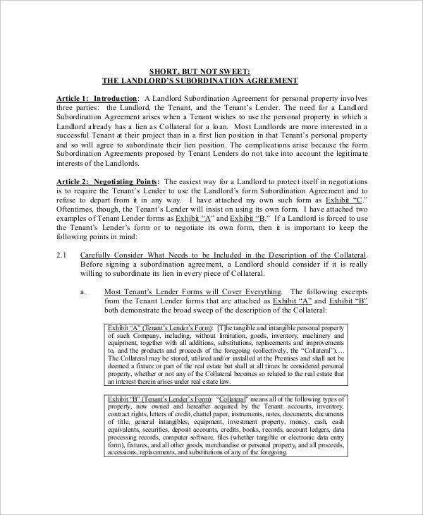 Sample Subordination Agreement Template. Perpetual Loan ...