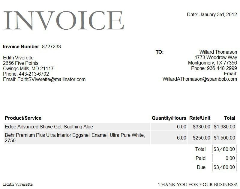 project invoice template