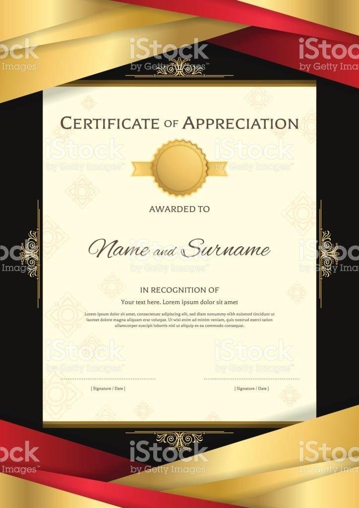 Portrait Luxury Certificate Template Diploma Design For Graduation ...