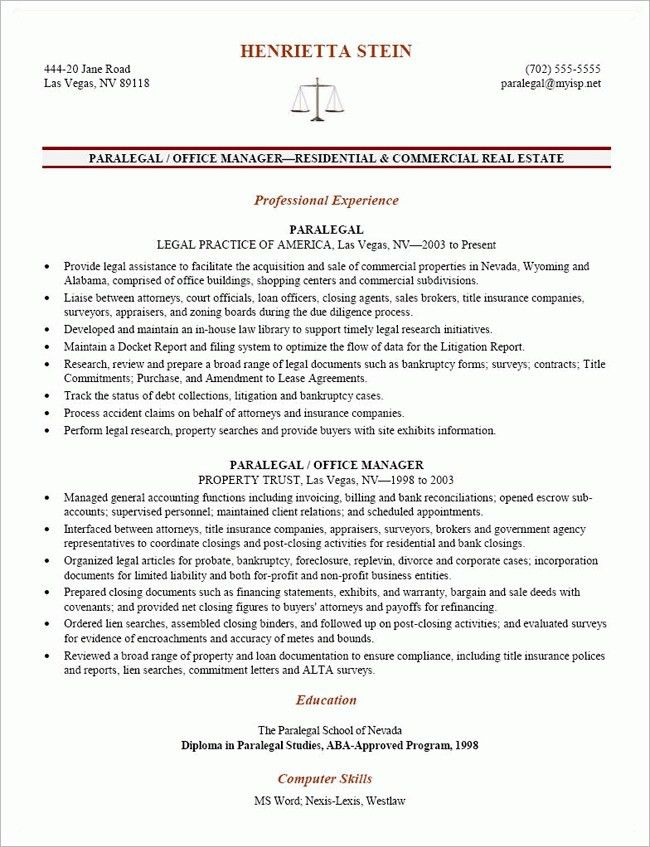 paralegal resume objective paralegal resume sample resume