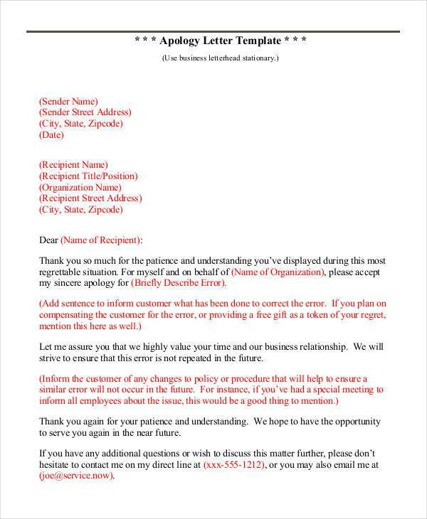 Apology Letter Templates - 7+ Free Word, PDF Documents Download ...