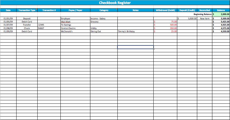 Large Checkbook Register Template For Numbers | Free iWork Templates