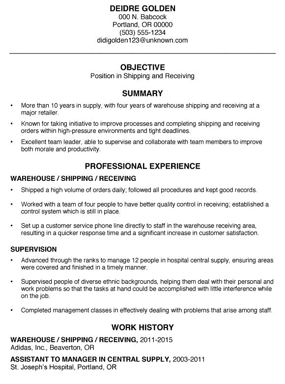10 Shipping And Receiving Clerk Resume Resume receiving clerk ...