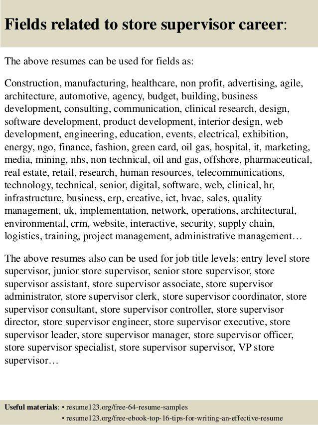 Top 8 store supervisor resume samples