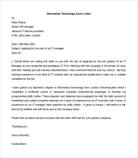 customer service cover letter example. information technology it ...