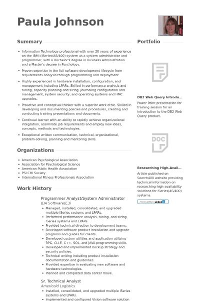 Programmer Analyst Resume samples - VisualCV resume samples database