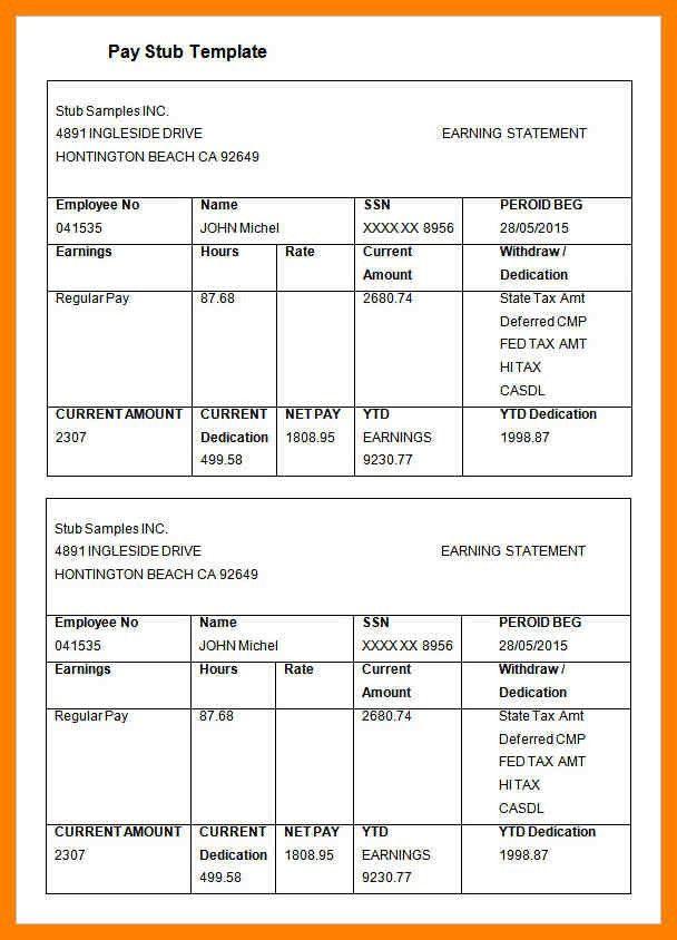 4+ pay stub template | appraisal letter