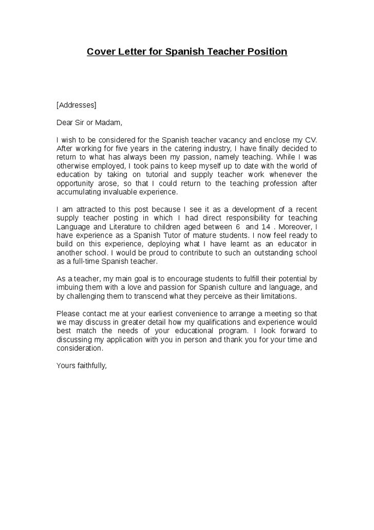 cover letter teaching position inside Sample Cover Letter For ...
