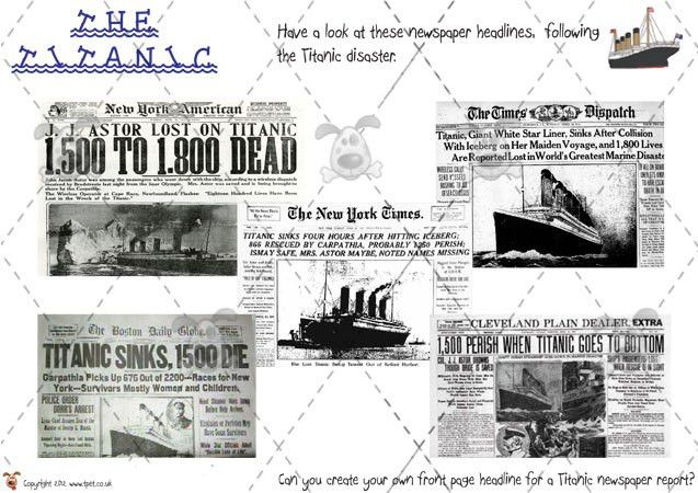 Pet - Titanic Newspaper Report - Premium Printable Classroom ...