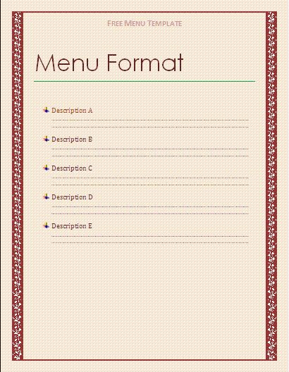 Ms Word Menu Template.menu Templates Free Download Word J499w0pt ...