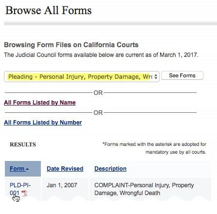 How to File Court Papers in CA for Personal Injury Accident