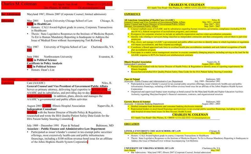 Legal Resume Review and Revision of the Experienced Attorney Resume -