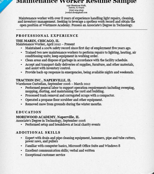 Luxury Design Resume For Maintenance 15 Maintenance Worker Resume ...
