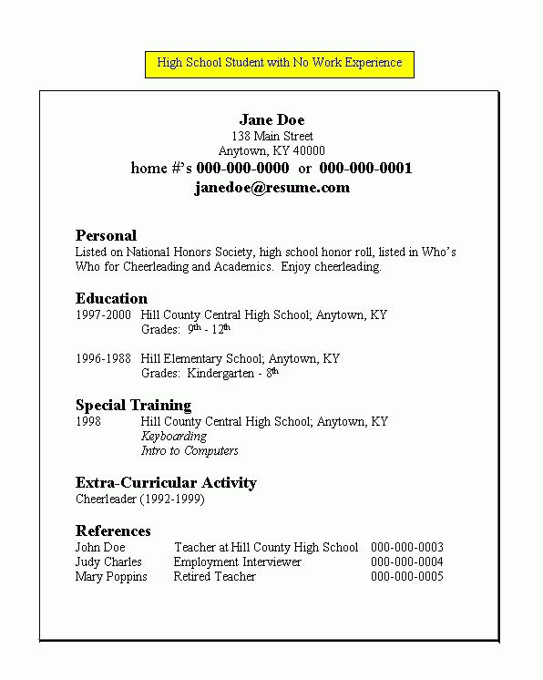 Hs Student Resume | resume for high school student with no work ...
