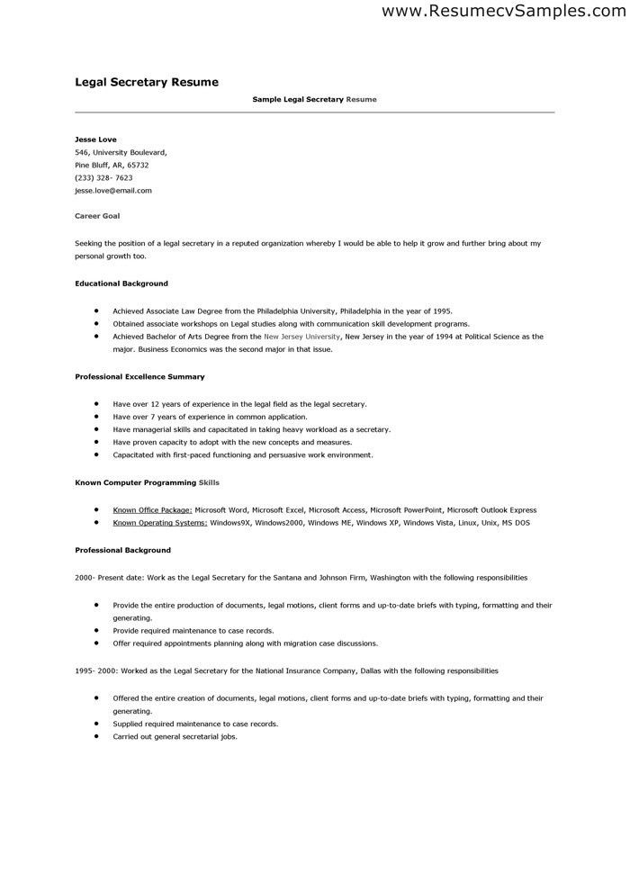 legal assistant resume sample legal resumes legal secretary