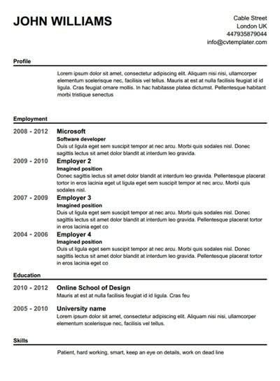 Resume Builder Free Online Printable | Health Symptoms And Cure.com