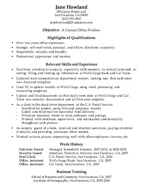 resume sample clerical office work. hybrid resume examples sample ...