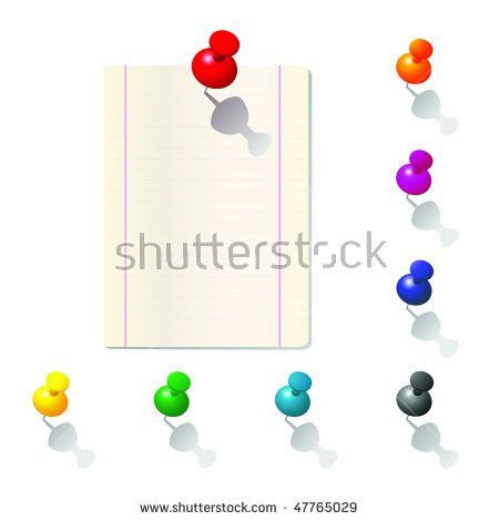 Vector Illustration Push Pin Collection Note Stock Vector 47506438 ...