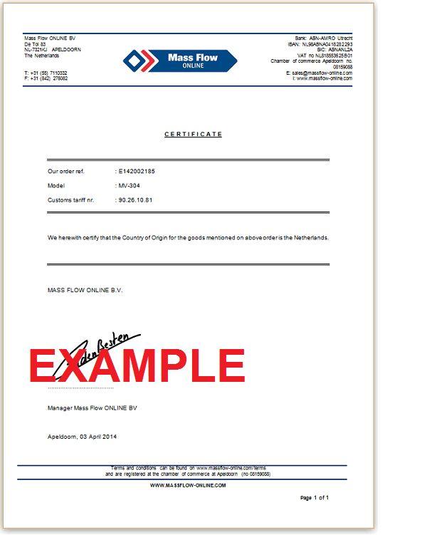 Certificate of origin : Mass Flow ONLINE, The online Flow Meter shop