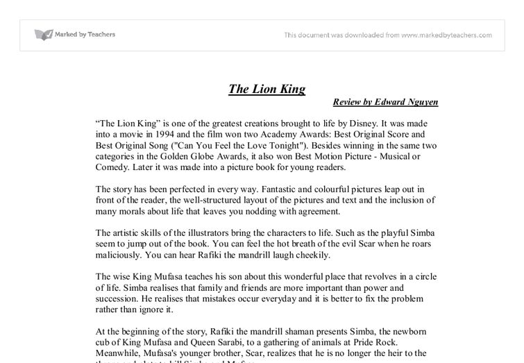 Book Review of Lion King - GCSE English - Marked by Teachers.com