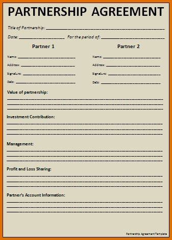 business partnership agreement templateReference Letters Words ...