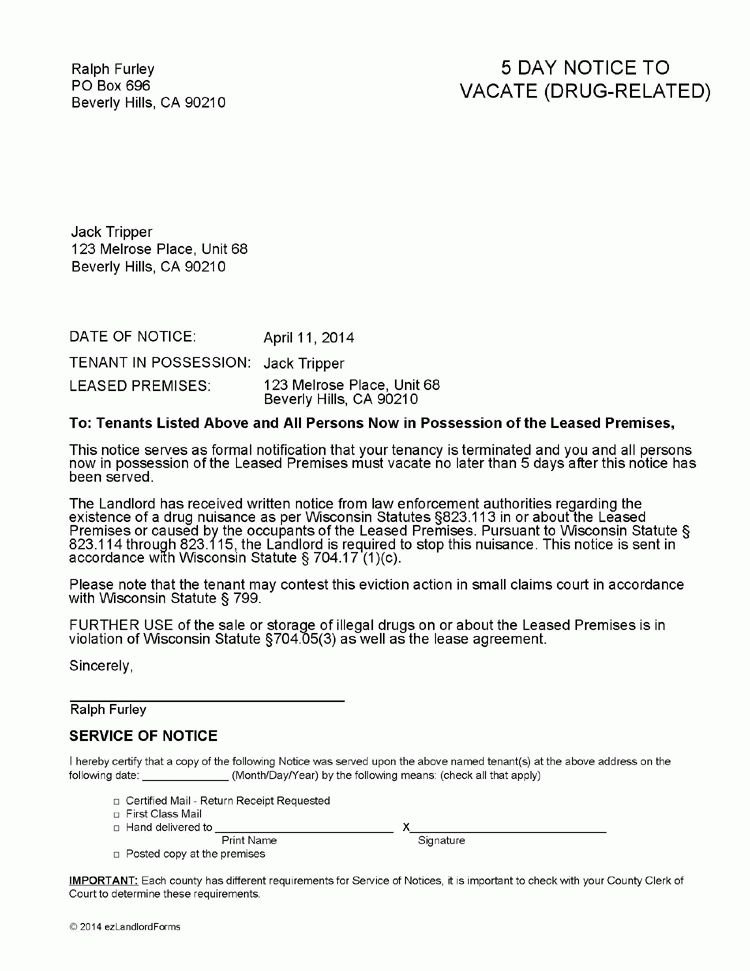 Wisconsin 5 Day Notice to Vacate (Drug Offense) | EZ Landlord Forms