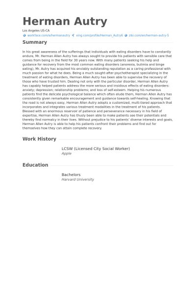 Licensed City Social Worker Resume samples - VisualCV resume ...