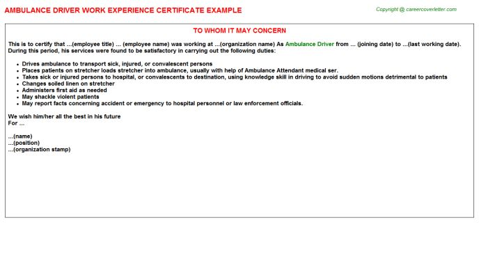 Ambulance Driver Work Experience Certificate