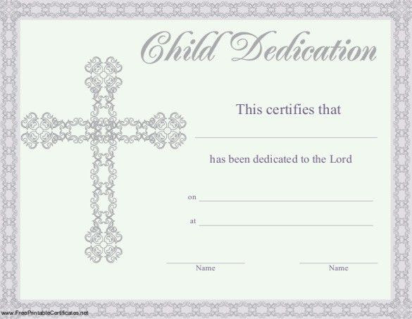 Baby Dedication Certificate Template – 19+ Free Word, PDF ...