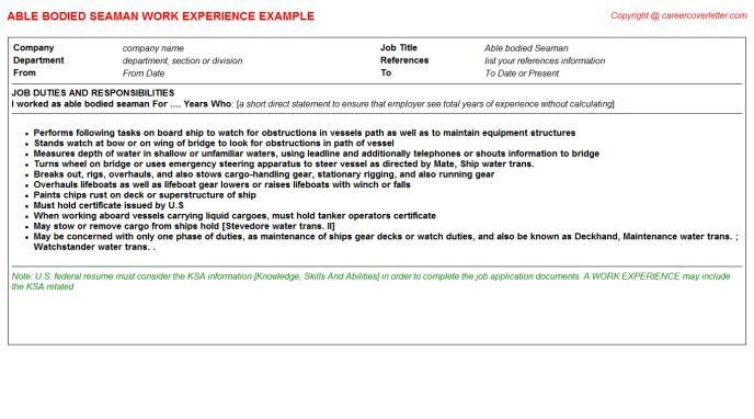Seaman Oiler Able Bodied CV Work Experience Samples
