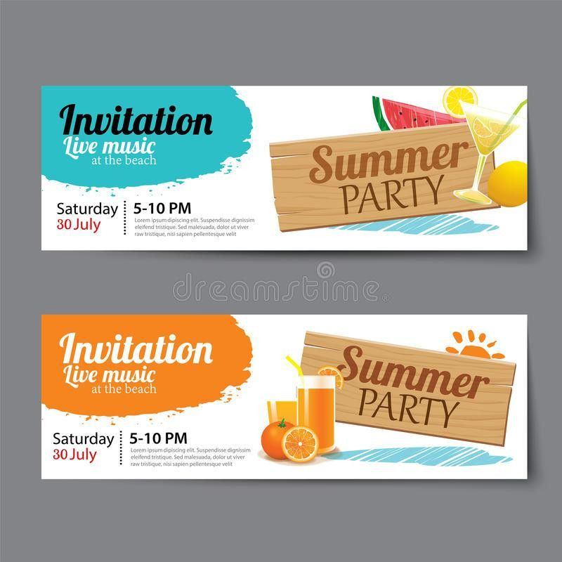 Summer Pool Party Ticket Template Stock Vector - Image: 74953655