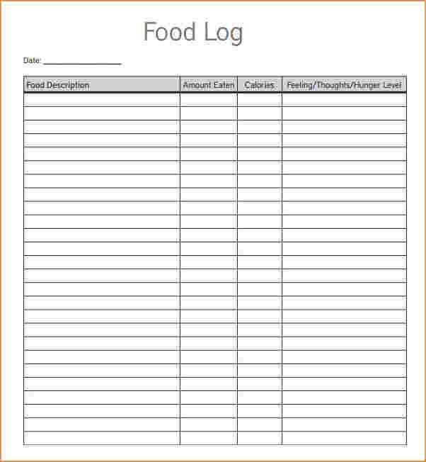 5 food log template | Outline Templates