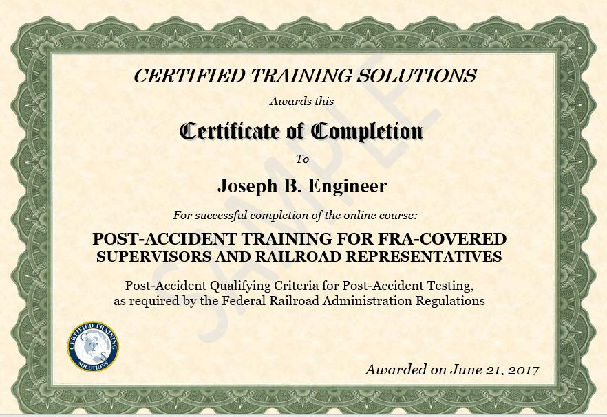 FRA Post Accident Training - Certified Training Solutions - The ...