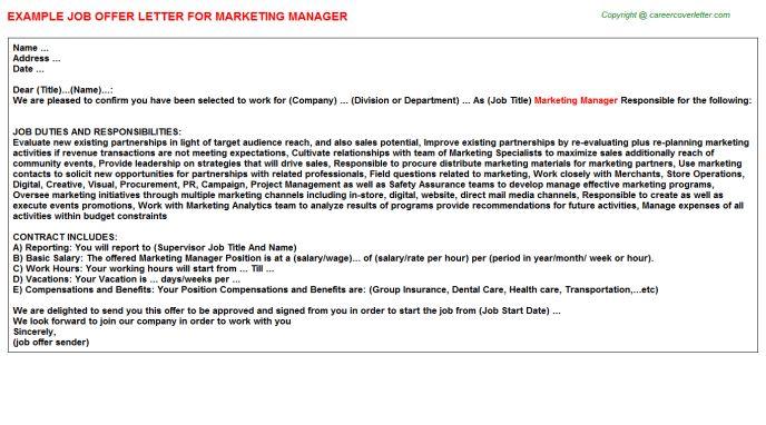 Marketing Manager Offer Letter