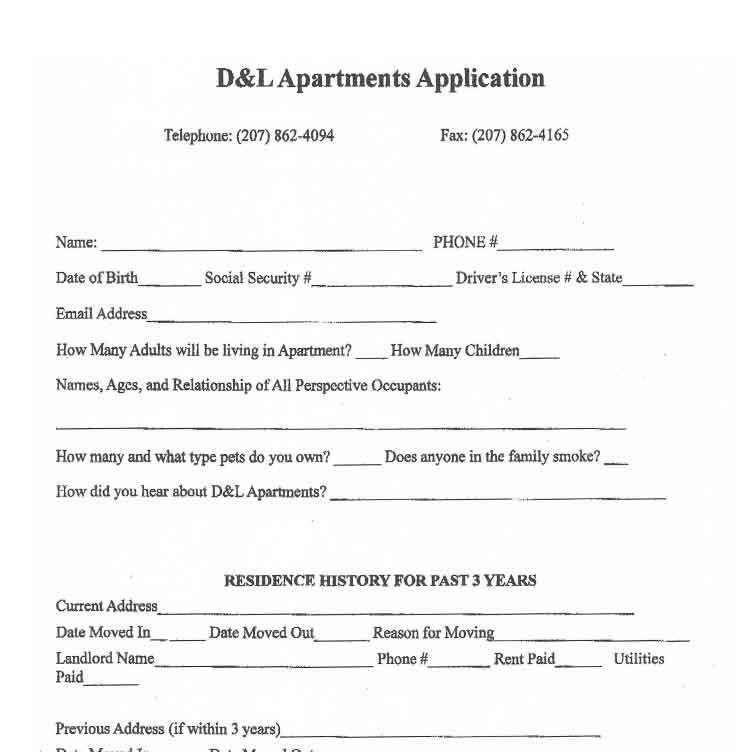 Sample Application and Lease For Apartment Rentals Bangor Maine ...