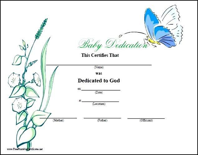 Free Baby Dedication Certificate | Certificate234