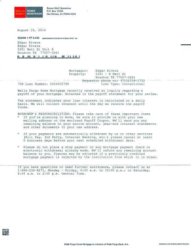 debt payoff letter from wells fargo bank | My Banking | Pinterest